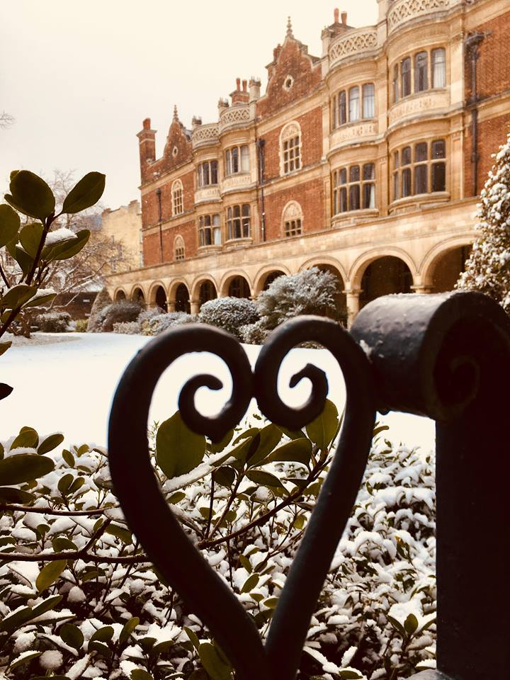 A snowy Cloister Court taken by Hannah Bostock, Development Administrator
