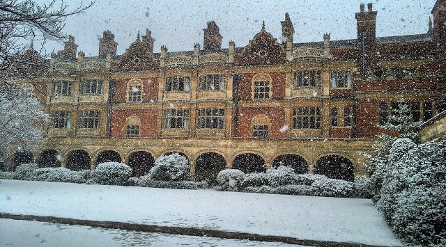 Snow failling in Cloister Court by Kara Mohamed, First year Medicine undergraduate
