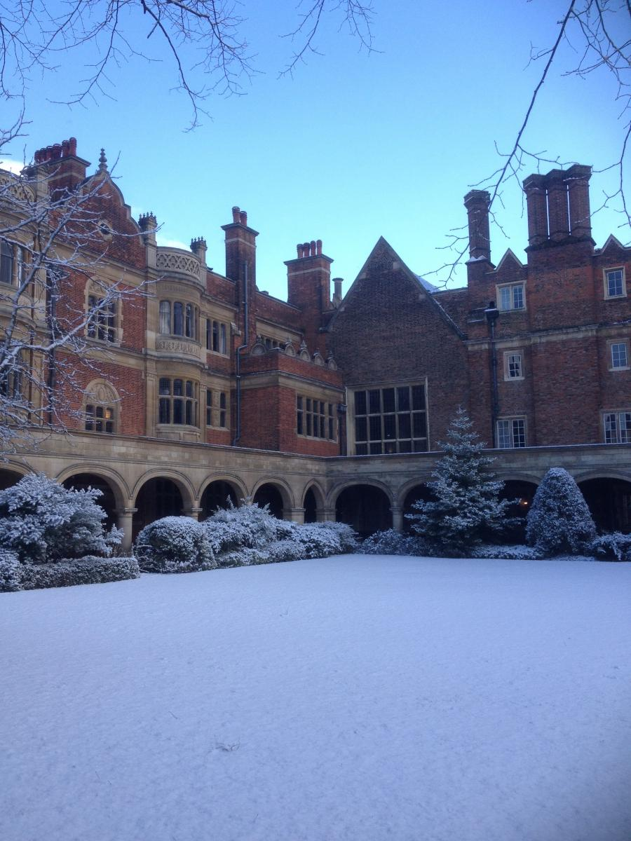 Cloister Court in the snow taken by Martina Cheadle, Fourth year Engineering undergraduate