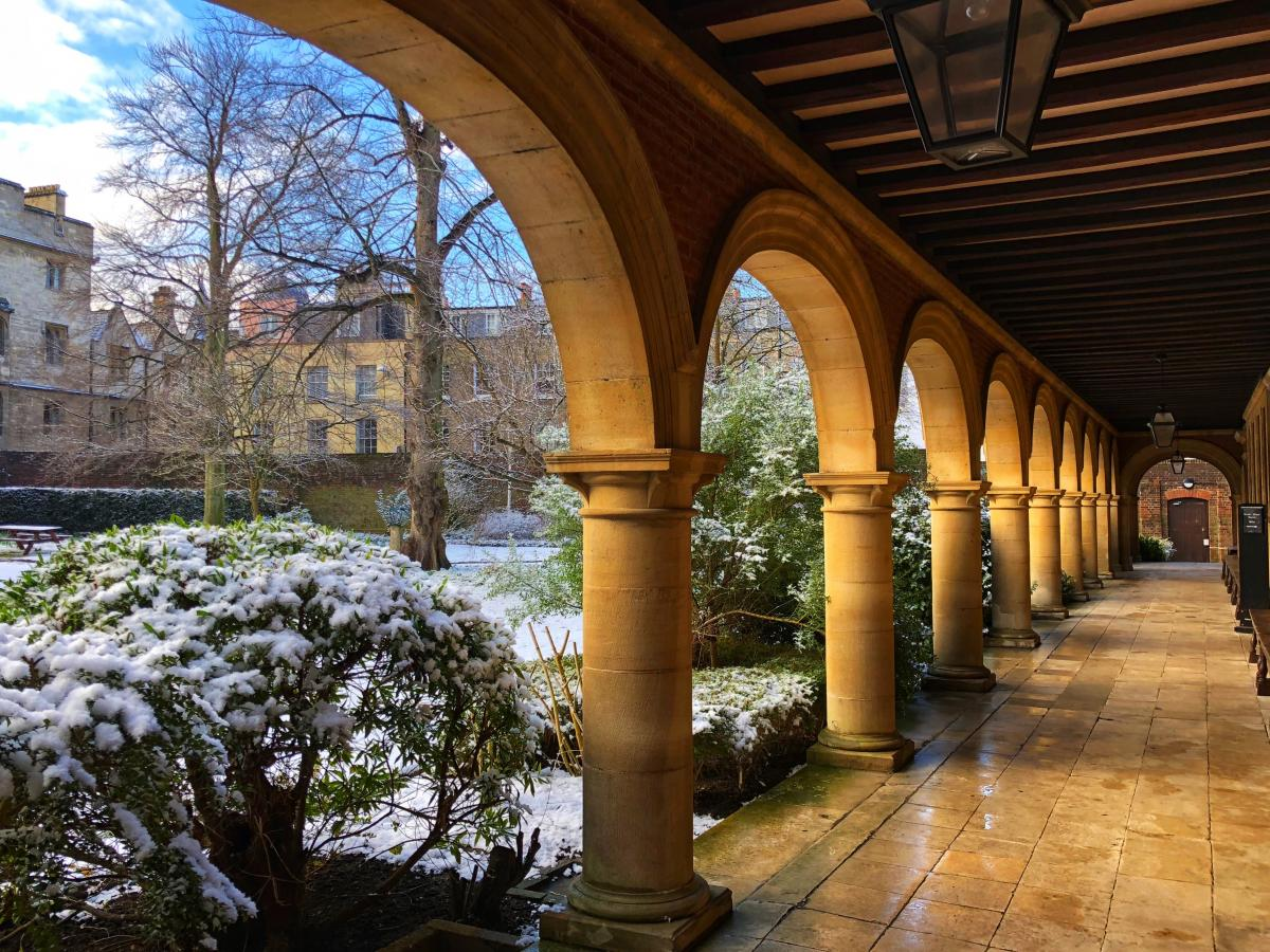 Beautiful lighting in the Cloisters overlooking the snowy garden taken by Ying Kong, MPhil Economics